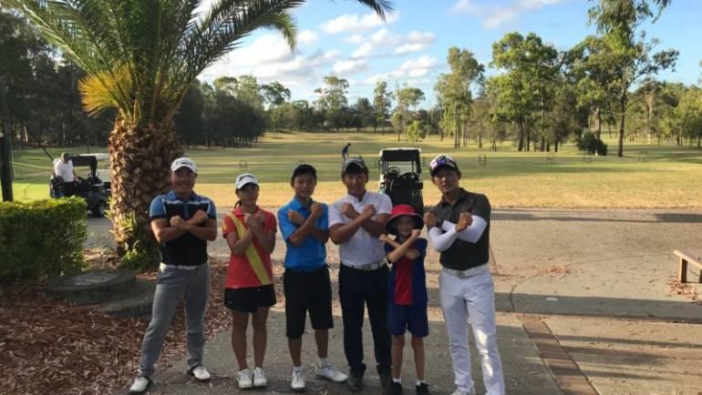 ゴルフ留学生達の練習風景
